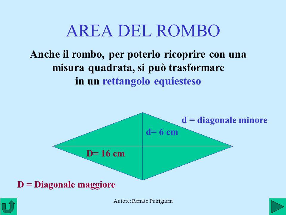 Autore: Renato Patrignani AREA DEL ROMBO Anche il rombo, per poterlo ricoprire con una misura quadrata, si può trasformare in un rettangolo equiesteso