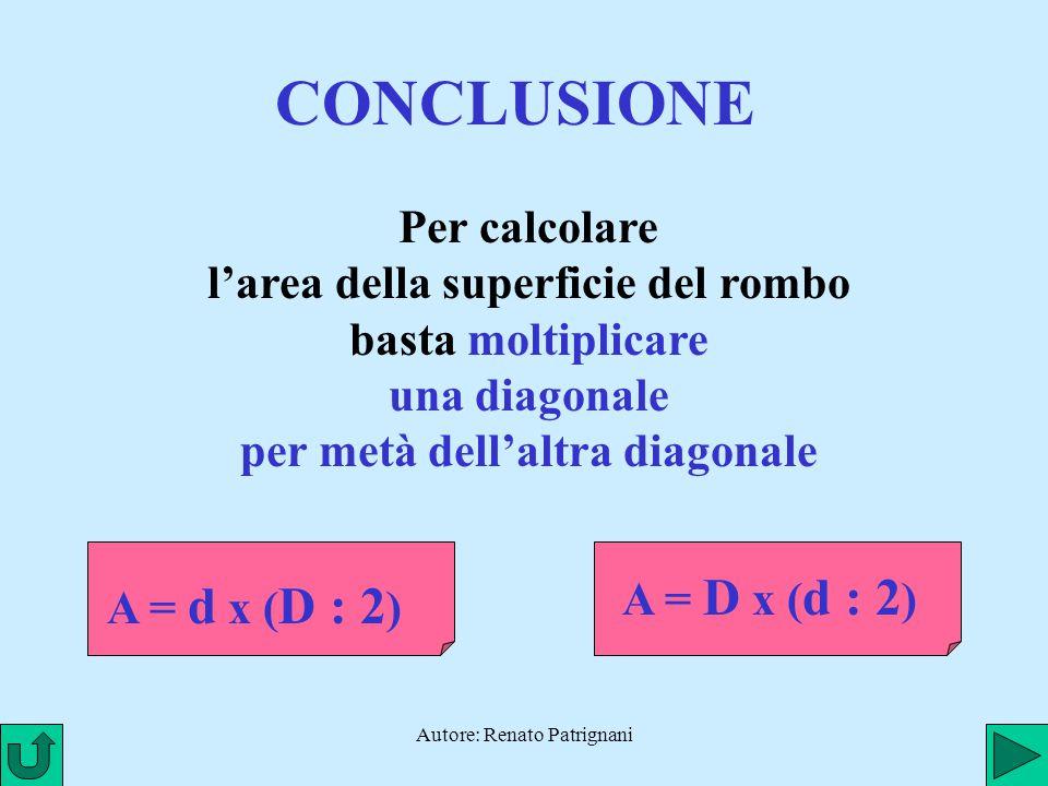 Autore: Renato Patrignani CONCLUSIONE Per calcolare l'area della superficie del rombo basta moltiplicare una diagonale per metà dell'altra diagonale A