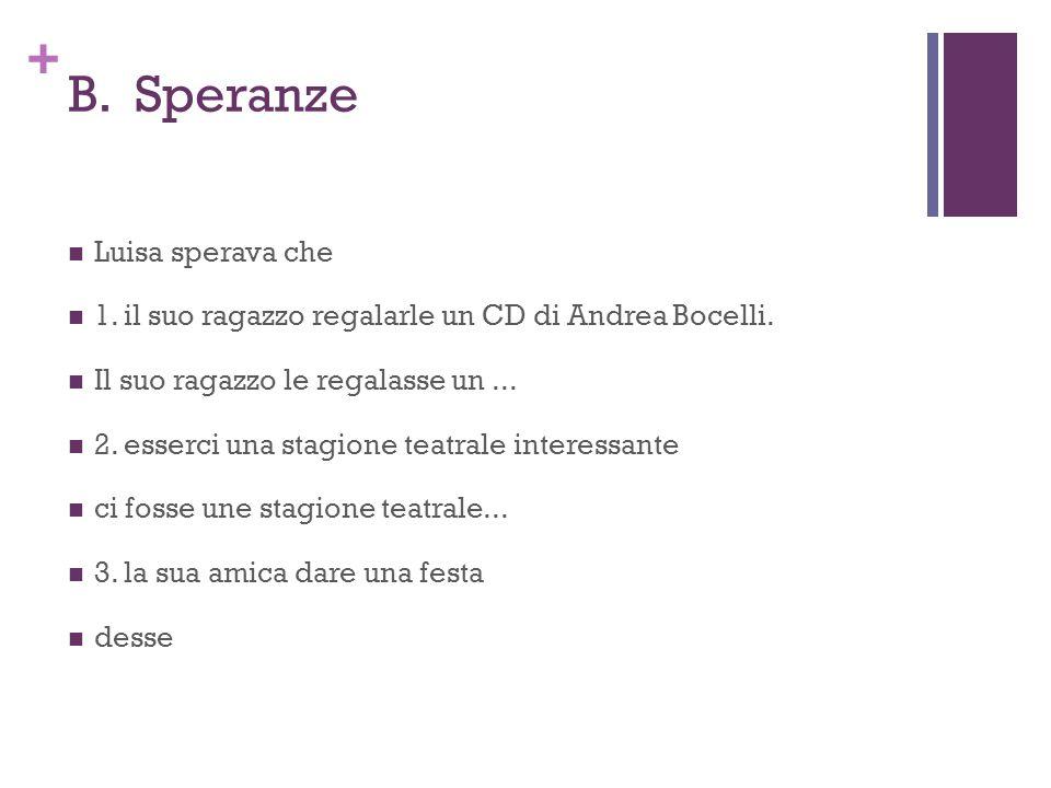 + B. Speranze Luisa sperava che 1. il suo ragazzo regalarle un CD di Andrea Bocelli.