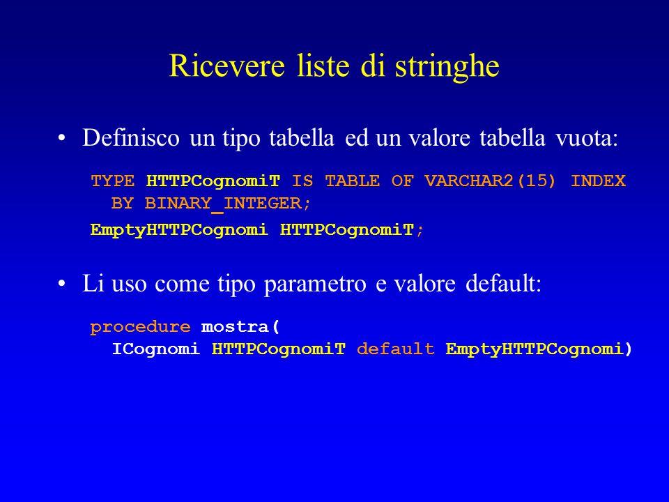 Ricevere liste di stringhe Definisco un tipo tabella ed un valore tabella vuota: TYPE HTTPCognomiT IS TABLE OF VARCHAR2(15) INDEX BY BINARY_INTEGER; E