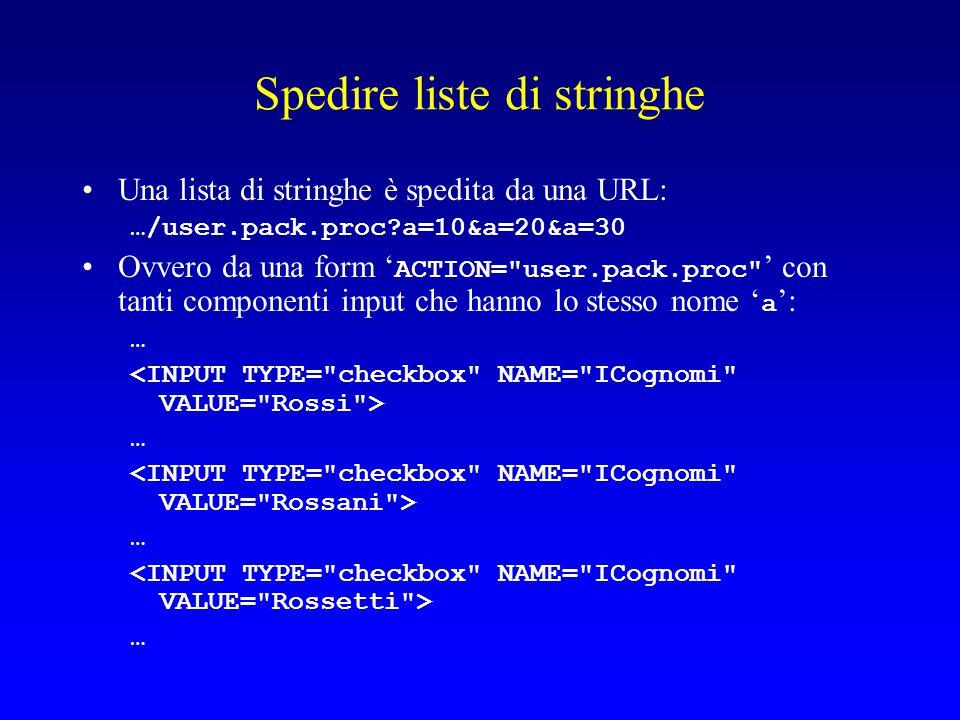 Spedire liste di stringhe Una lista di stringhe è spedita da una URL: …/user.pack.proc?a=10&a=20&a=30 Ovvero da una form ' ACTION= user.pack.proc ' con tanti componenti input che hanno lo stesso nome ' a ': … … … …