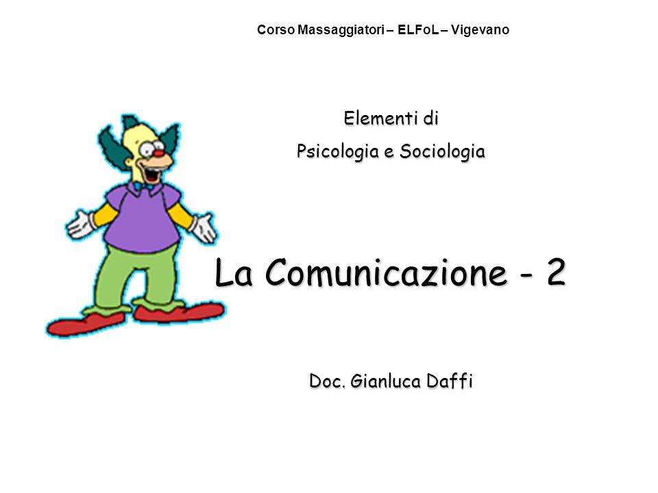 Elementi di Psicologia e Sociologia La Comunicazione - 2 Doc. Gianluca Daffi Corso Massaggiatori – ELFoL – Vigevano