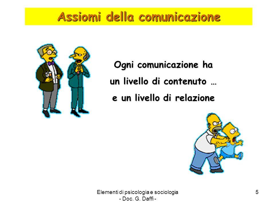 Elementi di psicologia e sociologia - Doc. G. Daffi - 5 Assiomi della comunicazione Ogni comunicazione ha un livello di contenuto … e un livello di re
