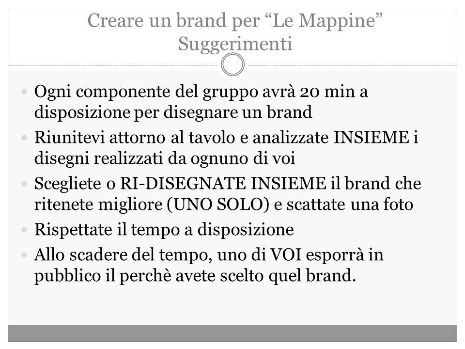 Creare un brand per Le Mappine Suggerimenti Ogni componente del gruppo avrà 20 min a disposizione per disegnare un brand Riunitevi attorno al tavolo e analizzate INSIEME i disegni realizzati da ognuno di voi Scegliete o RI-DISEGNATE INSIEME il brand che ritenete migliore (UNO SOLO) e scattate una foto Rispettate il tempo a disposizione Allo scadere del tempo, uno di VOI esporrà in pubblico il perchè avete scelto quel brand.