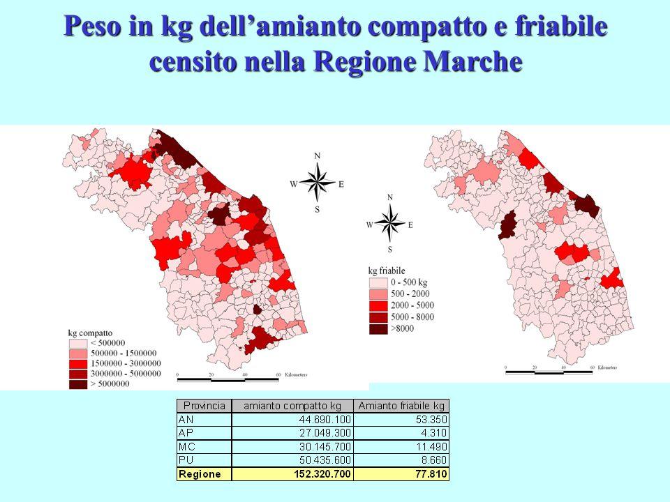 Peso in kg dell'amianto compatto e friabile censito nella Regione Marche