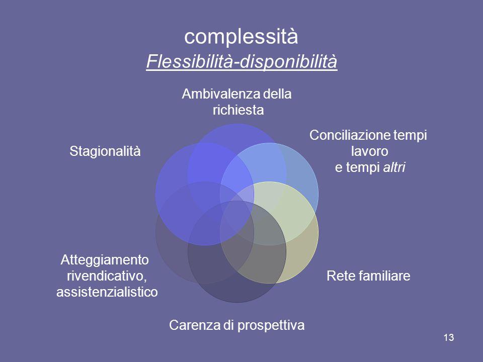 13 complessità Flessibilità-disponibilità Ambivalenza della richiesta Conciliazione tempi lavoro e tempi altri Rete familiare Carenza di prospettiva A