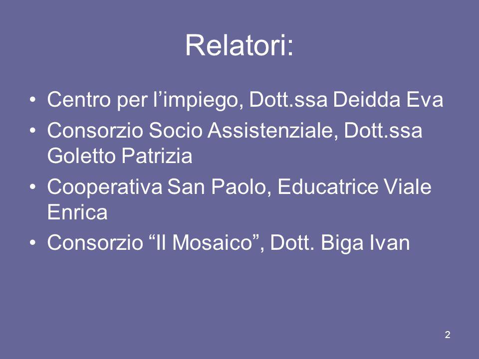 2 Relatori: Centro per l'impiego, Dott.ssa Deidda Eva Consorzio Socio Assistenziale, Dott.ssa Goletto Patrizia Cooperativa San Paolo, Educatrice Viale Enrica Consorzio Il Mosaico , Dott.