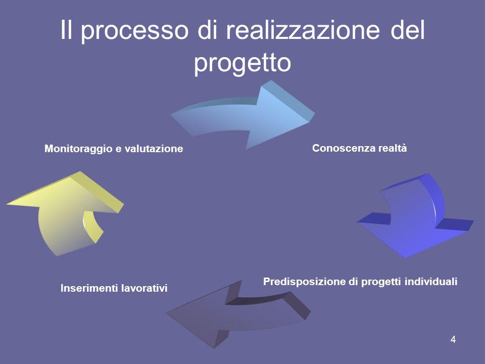 4 Il processo di realizzazione del progetto Conoscenza realtà Predisposizione di progetti individuali Inserimenti lavorativi Monitoraggio e valutazione