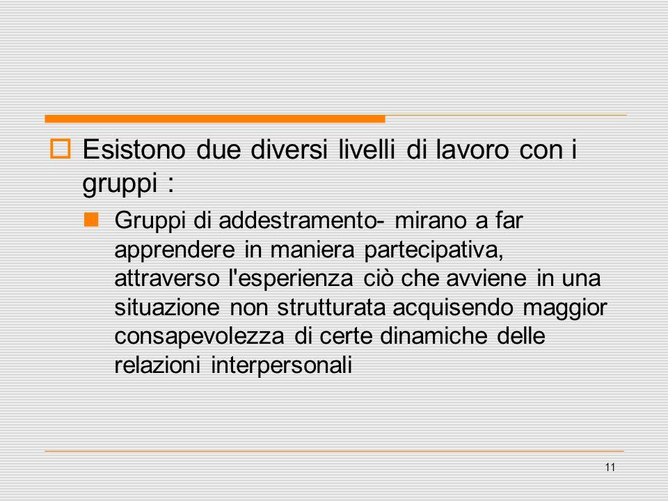 11  Esistono due diversi livelli di lavoro con i gruppi : Gruppi di addestramento- mirano a far apprendere in maniera partecipativa, attraverso l'esp