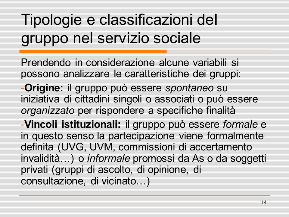 14 Tipologie e classificazioni deI gruppo nel servizio sociale Prendendo in considerazione alcune variabili si possono analizzare le caratteristiche d