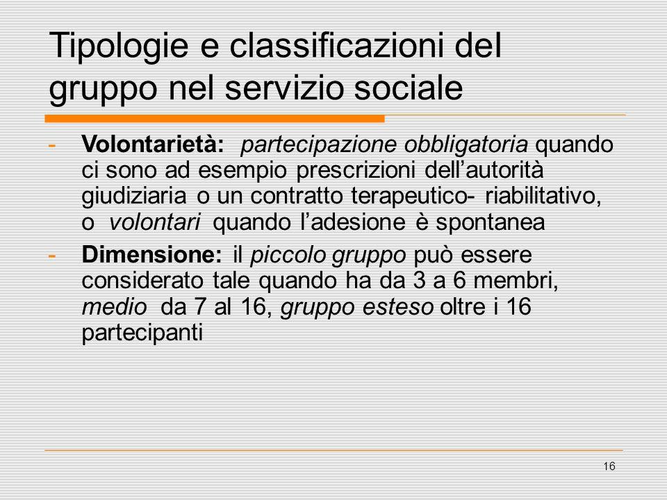 16 Tipologie e classificazioni deI gruppo nel servizio sociale -Volontarietà: partecipazione obbligatoria quando ci sono ad esempio prescrizioni dell'
