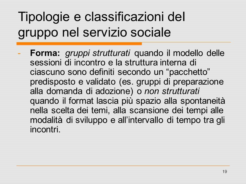 19 Tipologie e classificazioni deI gruppo nel servizio sociale -Forma: gruppi strutturati quando il modello delle sessioni di incontro e la struttura