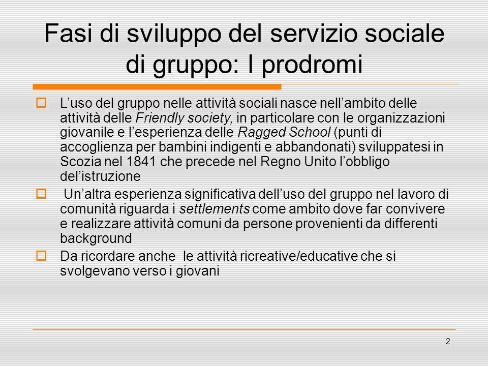 2 Fasi di sviluppo del servizio sociale di gruppo: I prodromi  L'uso del gruppo nelle attività sociali nasce nell'ambito delle attività delle Friendl