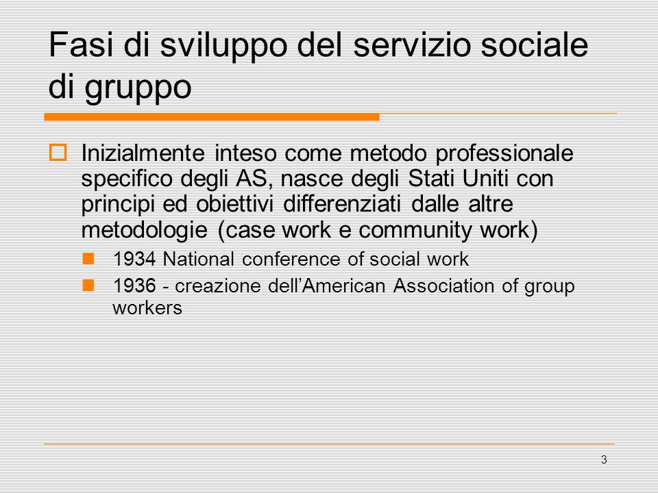 3 Fasi di sviluppo del servizio sociale di gruppo  Inizialmente inteso come metodo professionale specifico degli AS, nasce degli Stati Uniti con prin