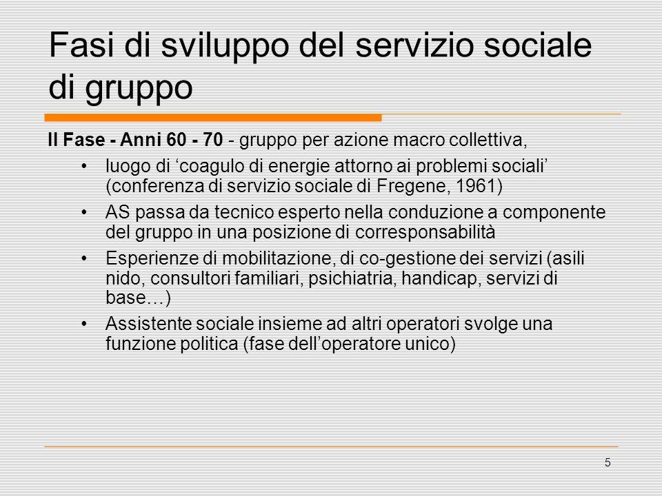 5 Fasi di sviluppo del servizio sociale di gruppo II Fase - Anni 60 - 70 - gruppo per azione macro collettiva, luogo di 'coagulo di energie attorno ai