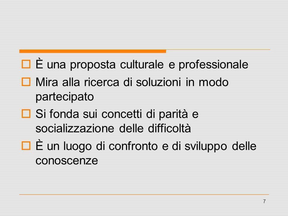 8  Quattro filoni culturali: Principi professionali - (principi umanistici, riconoscimento delle diversità, partecipazione) Attenzione al positivo e alle risorse Auto/mutuo aiuto - aiuto reciproco Empowerment
