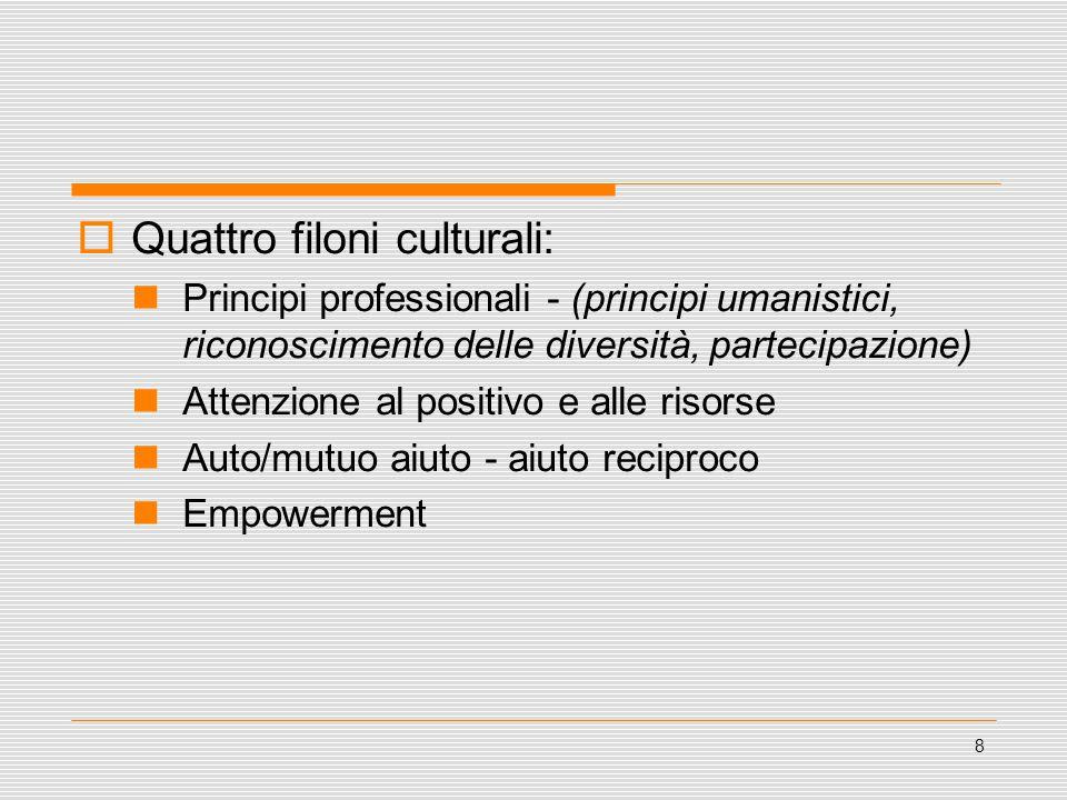 8  Quattro filoni culturali: Principi professionali - (principi umanistici, riconoscimento delle diversità, partecipazione) Attenzione al positivo e