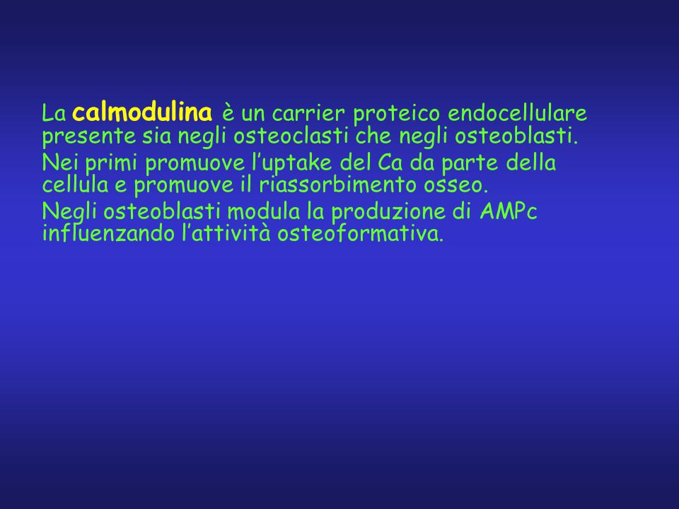 La calmodulina è un carrier proteico endocellulare presente sia negli osteoclasti che negli osteoblasti. Nei primi promuove l'uptake del Ca da parte d