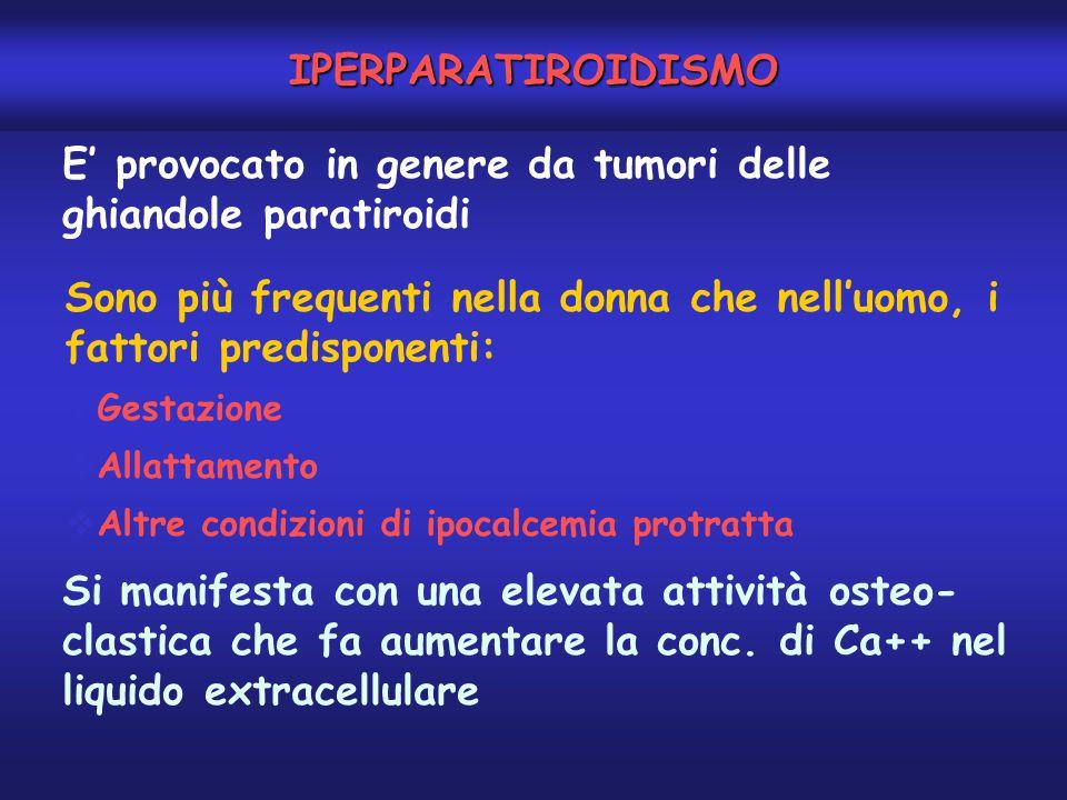 E' provocato in genere da tumori delle ghiandole paratiroidi Sono più frequenti nella donna che nell'uomo, i fattori predisponenti:  Gestazione  All