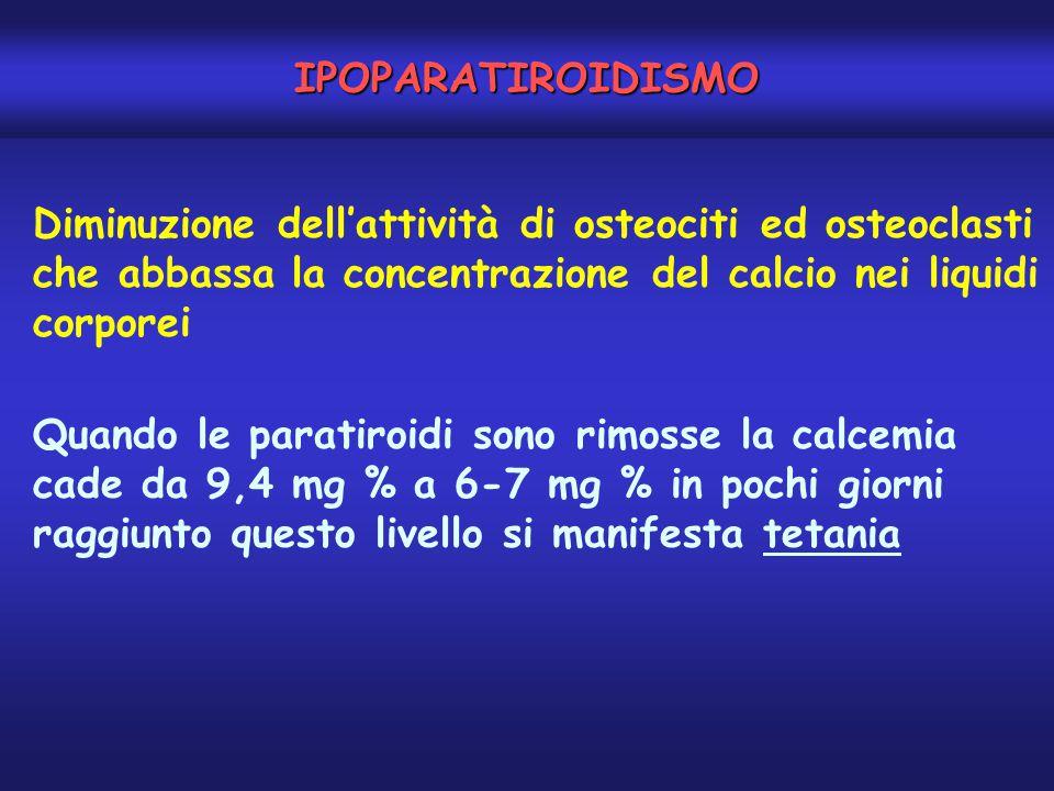 IPOPARATIROIDISMO Diminuzione dell'attività di osteociti ed osteoclasti che abbassa la concentrazione del calcio nei liquidi corporei Quando le parati
