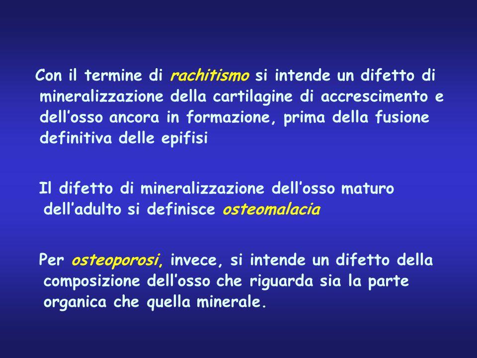 Con il termine di rachitismo si intende un difetto di mineralizzazione della cartilagine di accrescimento e dell'osso ancora in formazione, prima dell