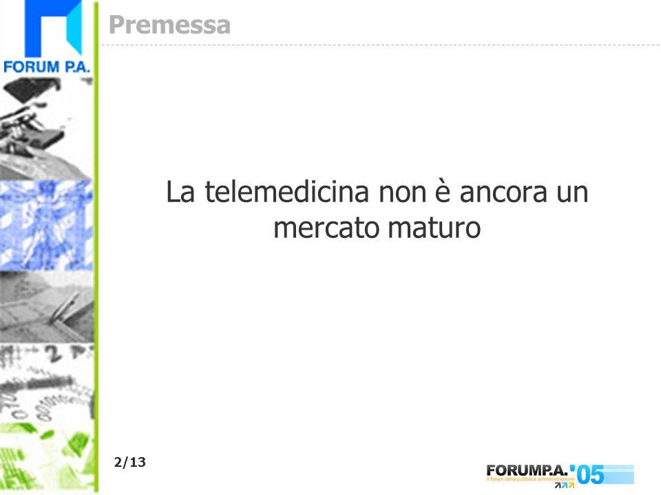 2/13 Premessa La telemedicina non è ancora un mercato maturo