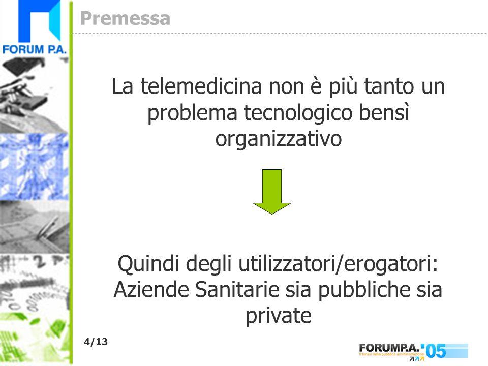 4/13 Premessa La telemedicina non è più tanto un problema tecnologico bensì organizzativo Quindi degli utilizzatori/erogatori: Aziende Sanitarie sia pubbliche sia private