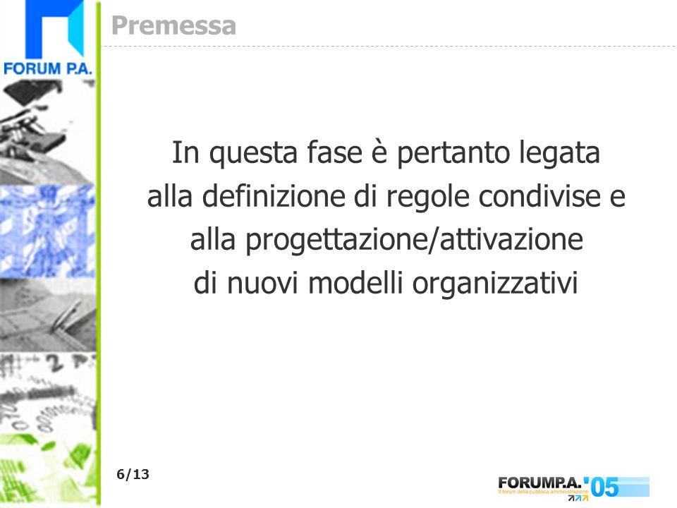 6/13 Premessa In questa fase è pertanto legata alla definizione di regole condivise e alla progettazione/attivazione di nuovi modelli organizzativi