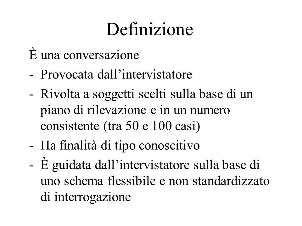 Definizione È una conversazione -Provocata dall'intervistatore -Rivolta a soggetti scelti sulla base di un piano di rilevazione e in un numero consist