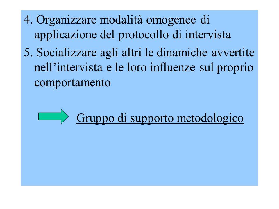 4. Organizzare modalità omogenee di applicazione del protocollo di intervista 5. Socializzare agli altri le dinamiche avvertite nell'intervista e le l