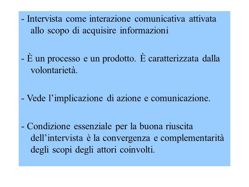 - Intervista come interazione comunicativa attivata allo scopo di acquisire informazioni - È un processo e un prodotto. È caratterizzata dalla volonta
