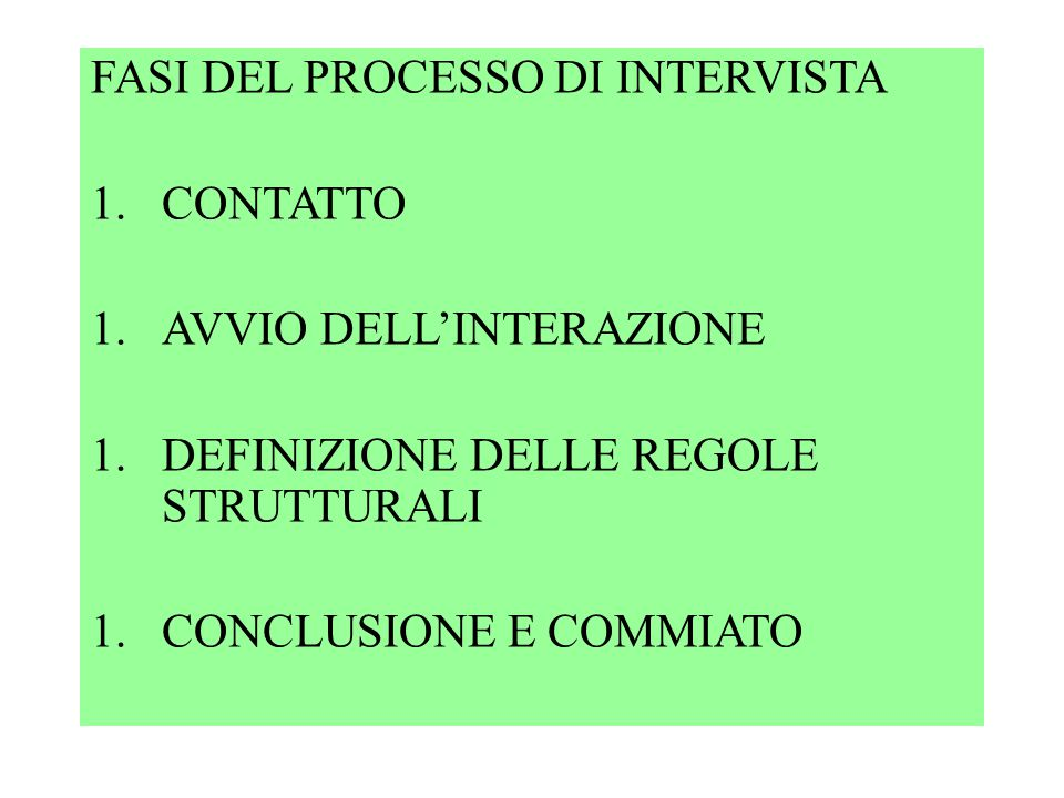 FASI DEL PROCESSO DI INTERVISTA 1.CONTATTO 1.AVVIO DELL'INTERAZIONE 1.DEFINIZIONE DELLE REGOLE STRUTTURALI 1.CONCLUSIONE E COMMIATO