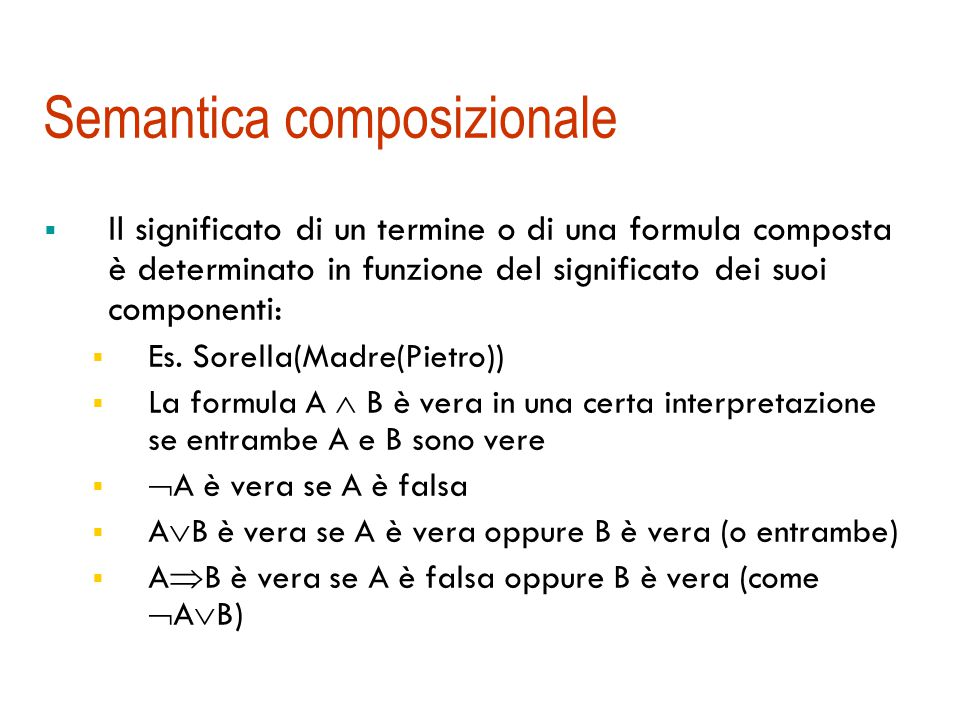 Semantica: un esempio … quella intesa I (A)=a I (B)=b I (On)={ } I (Clear)={a} I (Table)={b} a b On(A, B) Clear(A)Due interpretazioni possibili: Table(B) … un'altra possibile I (A)=a I (B)=b I (On)={ } I (Clear)={b} I (Table)={a}
