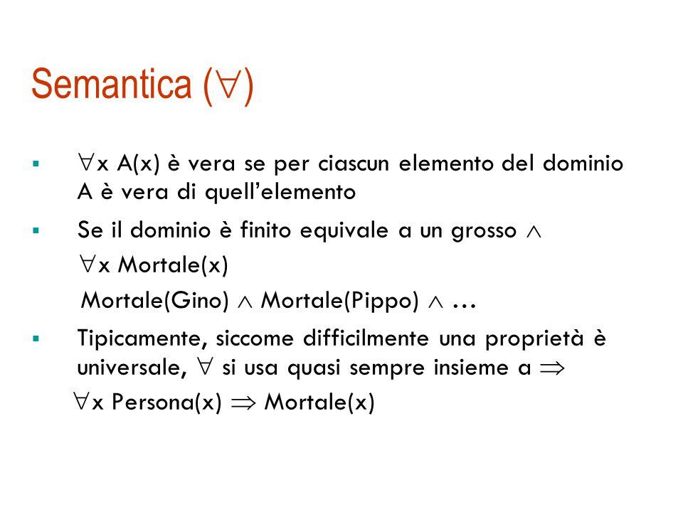 Semantica composizionale  Il significato di un termine o di una formula composta è determinato in funzione del significato dei suoi componenti:  Es.