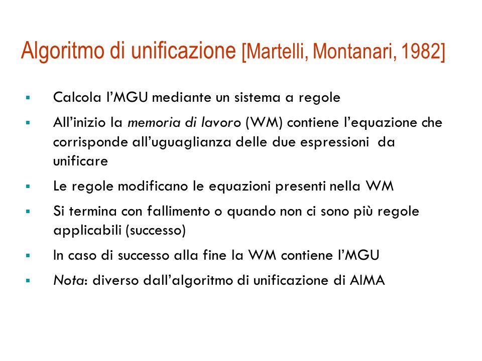 Unificatore più generale  L'unificatore più generale  (MGU): è tale che ogni altro unificatore può essere ottenuto componendo  con qualche sostituzione:   tale che    Es.