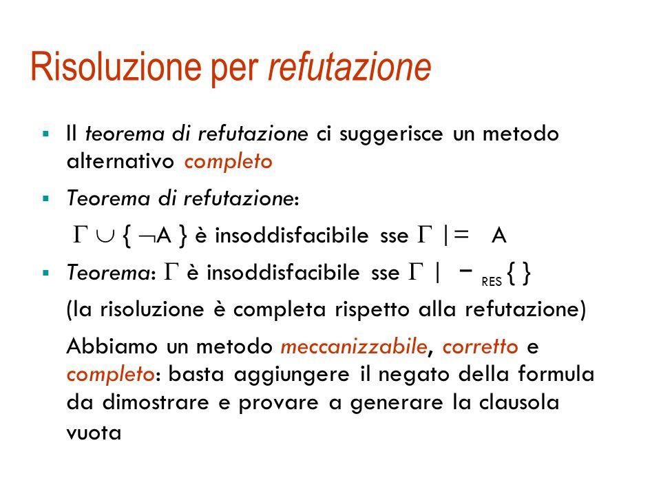 Completezza del metodo di risoluzione  La deduzione per risoluzione è corretta Correttezza: Se  | − RES A allora  |= A  La deduzione per risoluzione non è completa: può essere  |= A e non  | − RES A Es.