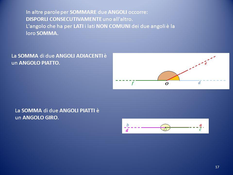 La SOMMA dei due ANGOLI aÔb e cÔ'd è l'angolo aÔd: Quindi possiamo scrivere: aÔb + cÔ'd = aÔd. 16