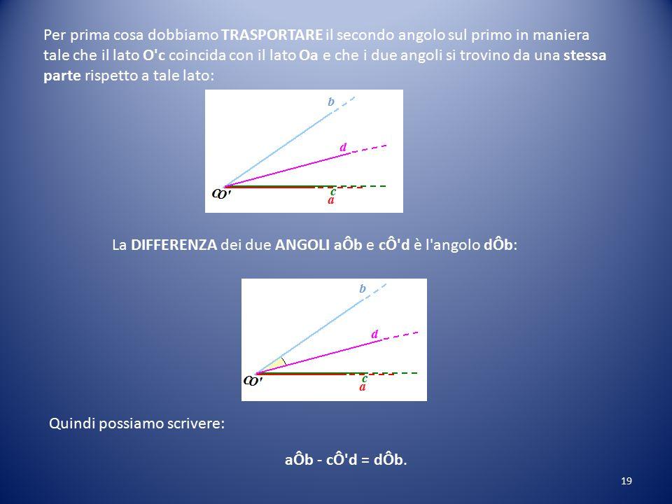 DIFFERENZA di due ANGOLI Supponiamo di avere DUE ANGOLI: l'angolo aÔb; l'angolo cÔ'd. Tali che aÔb > cÔ'd. Ora vogliamo SOTTRARRE dal primo angolo il