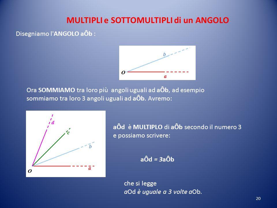Per prima cosa dobbiamo TRASPORTARE il secondo angolo sul primo in maniera tale che il lato O'c coincida con il lato Oa e che i due angoli si trovino
