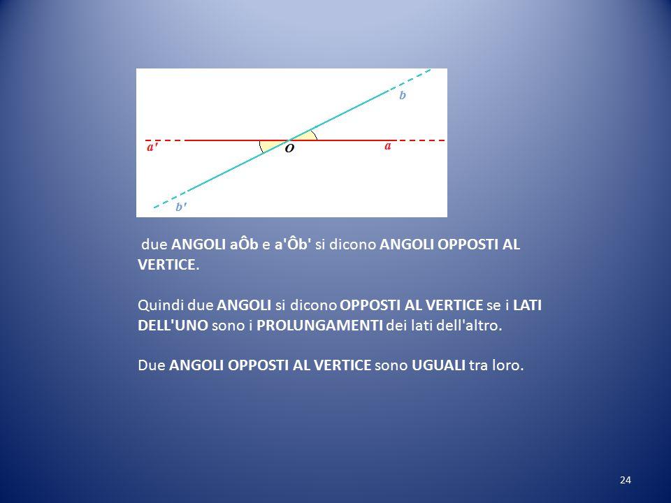 ANGOLI OPPOSTI al VERTICE Disegniamo le semirette a e b che si incontrano nel punto O: Le due semirette formano l'angolo aÔb. Ora disegniamo i prolung
