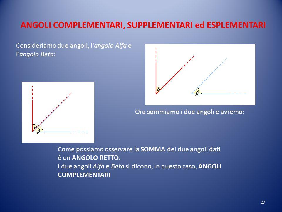 Un angolo MINORE dell'ANGOLO RETTO si dice ANGOLO ACUTO Un angolo MAGGIORE dell'ANGOLO RETTO si dice ANGOLO OTTUSO: 26