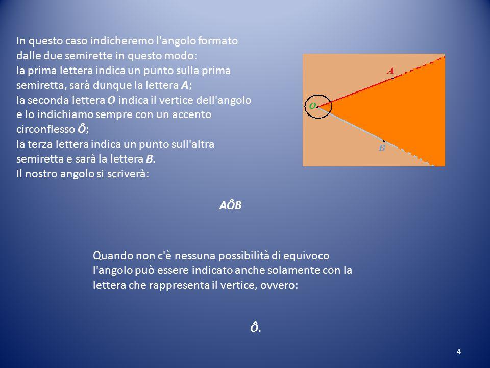 In questo caso indicheremo l angolo formato dalle due semirette in questo modo: la prima lettera indica un punto sulla prima semiretta, sarà dunque la lettera A; la seconda lettera O indica il vertice dell angolo e lo indichiamo sempre con un accento circonflesso Ô; la terza lettera indica un punto sull altra semiretta e sarà la lettera B.