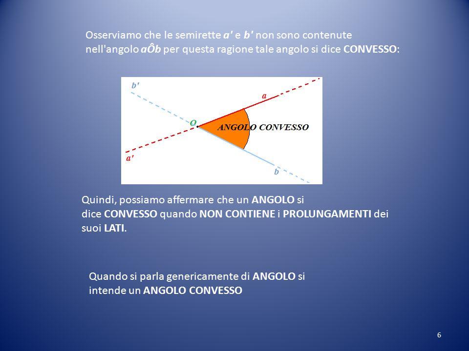 Osserviamo che le semirette a e b non sono contenute nell angolo aÔb per questa ragione tale angolo si dice CONVESSO: Quindi, possiamo affermare che un ANGOLO si dice CONVESSO quando NON CONTIENE i PROLUNGAMENTI dei suoi LATI.