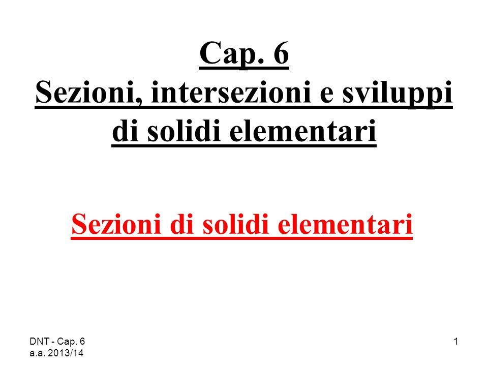 DNT - Cap. 6 a.a. 2013/14 1 Cap. 6 Sezioni, intersezioni e sviluppi di solidi elementari Sezioni di solidi elementari
