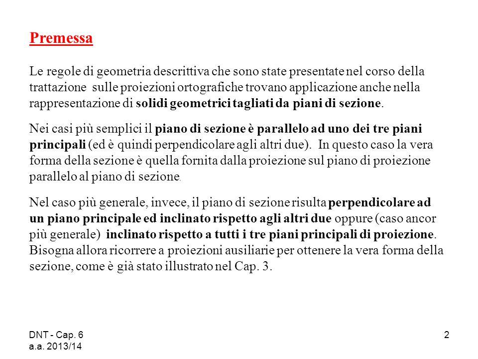 DNT - Cap. 6 a.a. 2013/14 2 Premessa Le regole di geometria descrittiva che sono state presentate nel corso della trattazione sulle proiezioni ortogra