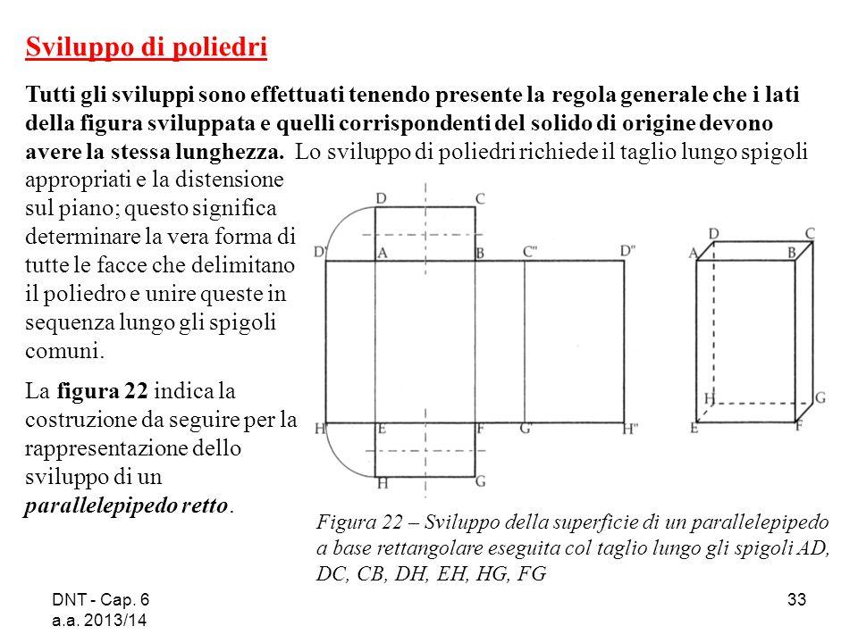 DNT - Cap. 6 a.a. 2013/14 33 Figura 22 – Sviluppo della superficie di un parallelepipedo a base rettangolare eseguita col taglio lungo gli spigoli AD,