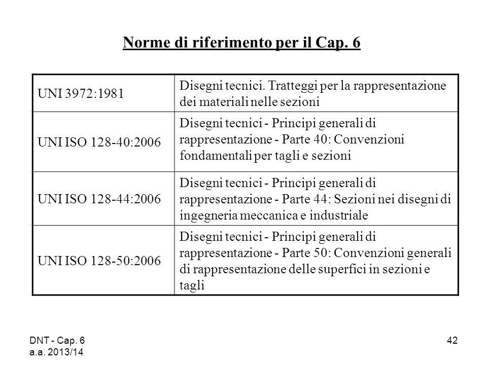 DNT - Cap. 6 a.a. 2013/14 42 Norme di riferimento per il Cap. 6 UNI 3972:1981 Disegni tecnici. Tratteggi per la rappresentazione dei materiali nelle s