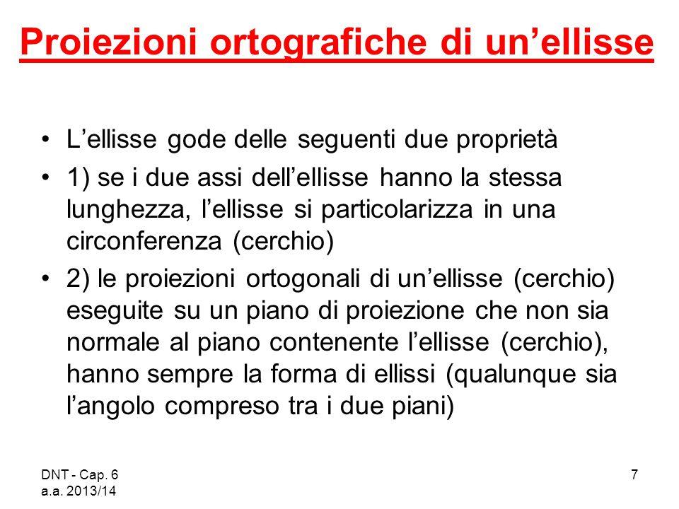 DNT - Cap. 6 a.a. 2013/14 7 Proiezioni ortografiche di un'ellisse L'ellisse gode delle seguenti due proprietà 1) se i due assi dell'ellisse hanno la s