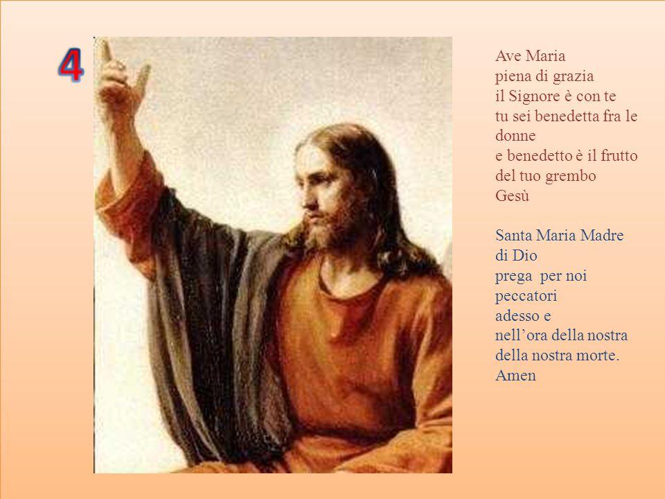 Ave Maria piena di grazia il Signore è con te tu sei benedetta fra le donne e benedetto è il frutto del tuo grembo Gesù Santa Maria Madre di Dio prega