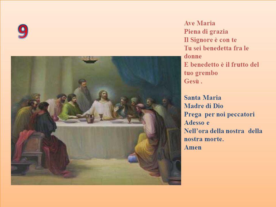 Ave Maria Piena di grazia Il Signore è con te Tu sei benedetta fra le donne E benedetto è il frutto del tuo grembo Gesù. Santa Maria Madre di Dio Preg